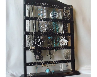 "Jewelry Organizer Stand, Necklace Rack, Black Earring Holder, ""You Choose The Base Style"" , Earring Stand, Necklace Holder, Substantial Base"