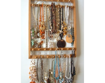 Jewelry Holder, Elegant Necklace Holder, Hangs 30-120 Necklaces, You Pick The Stain, Solid Oak Hardwood, Wood Necklace Holder, Wall Mounted