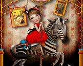 "SUMMER SALES EVENT Art Print - ""Carousel Dreams"" - Medium or Large Print 8.5x11 or 8x10  Fine Giclee Art Print - Zebra Carousel Horse Art"