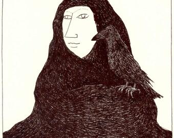 Original drawing - Night mountain / Crow