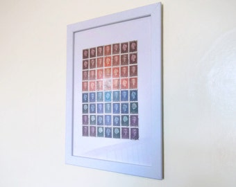 Dutch Postage Stamp Sunset - Framed Collage of Upcycled Netherlands Stamps