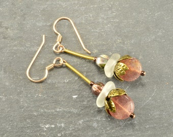 Strawberry quartz and genuine gleaming white sea glass super light weight  dangle earrings from the coast of Maine