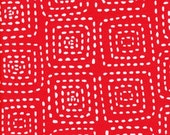 25% off Michael Miller Stitch Square Red  - Fabric 1 yard off of bolt (more available)