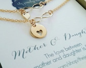mother of the bride gift from bride / mob jewelry / mother and daughter heart bracelets, infinity symbol, wedding day