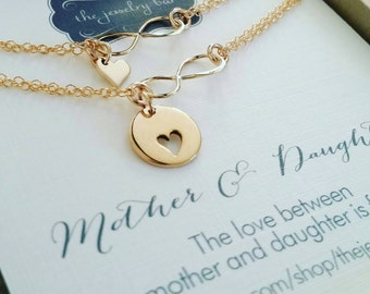 birthday gift for mom, mother daughter bracelet sets, heart cutout charm, sister and niece, bday celebration, mother daughter jewelry