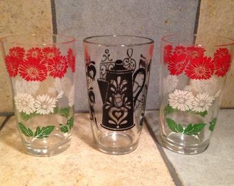 3 Juice Glasses with Enamel Designs
