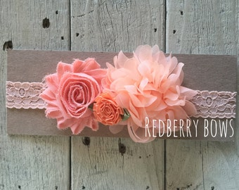 PEACH FLORALTRIO on Peach 1 inch Stretch Lace Headband