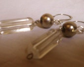 dangle Earrings, MOD clear acrylic bead and Antiqued Mirror metal bead