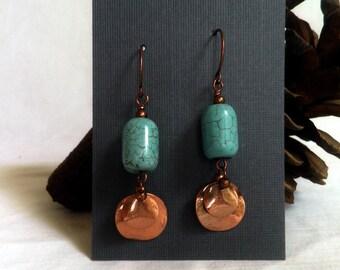 Turquoise howlite and Copper earrings, pierced earrings