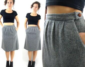 vintage 80s high waist wool skirt / grey / pockets / s / xs