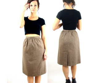 80s skirt / high waist / wool / pockets / evan piccone / xs / to the knee