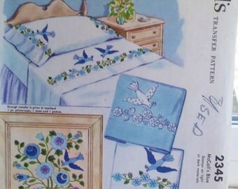 Vintage Embroidery Transfers McCall's 2345 6 Floral Sprays 3 Pairs of Birds for Bedding and Floral Picture Iron On Retro Applique Design