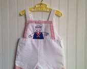 12 months Vintage nautical sailor overall shorts