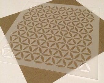 Square 5 inch stencil - Retro circluar pattern