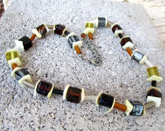 Vintage Multicolor Square Glass Beads Necklace Beaded Cubes Necklace