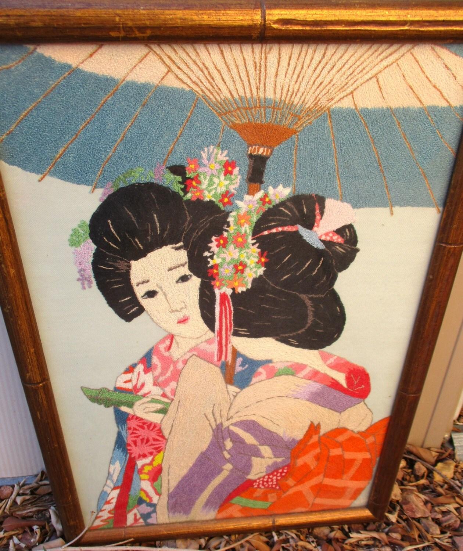 japanese embroidery framed needlework asian by retrosideshow. Black Bedroom Furniture Sets. Home Design Ideas