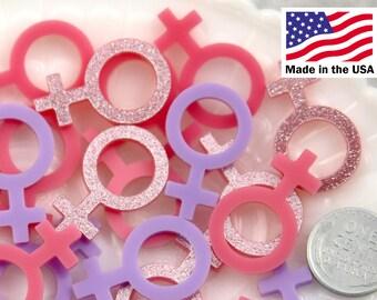 Venus Symbol Charms - 30mm Pink Female Venus Girl Symbol Glitter Acrylic or Resin Cabochons - 9 pc set