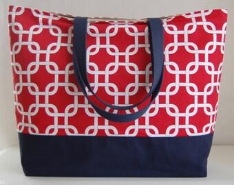 Gotcha Red XL Extra Large Beach Bag / BIG Tote Bag - Ready to Ship