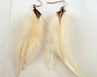 cruelty free Feather Earrings natural black and white