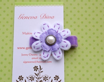 Lavender with Pearl Hand-stitched Felt Flower Clip