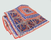"""60's Vera Scarf / Paisley Floral Design /  Red White & Blue / Lady Bug Logo / 22"""" Square"""