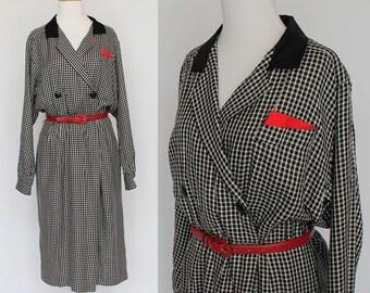 80's Shirtwaist Dress / Black & White Check / Liz Claiborne /  Medium to Large