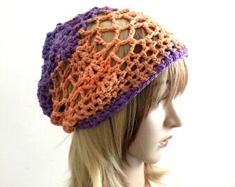 Summertime Slouchy Beanie - Gray Violet Orange Tangerine -  100 Percent Cotton Designer Yarn - Sol Degrade
