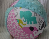 "Girly Elephants Cloth Jingle Ball Baby Girl Toy LARGE 7"" with Minky"