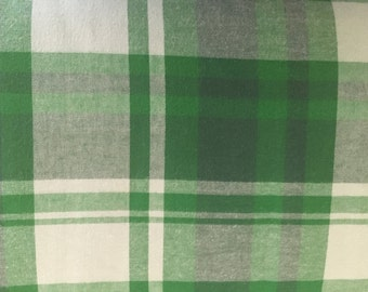 Plaid Green/Navy Blue Lightweight Fabric by the Yard