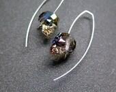 Custom Swarovski crystal skull earrings in sterling silver.