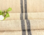 R 413 antique hemp french 천 CHARCOAL upholstery 11.80 yards handloomed STAIRUNNER benchcushion Beachhouse look