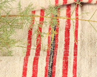 R 448 antique hemp linen roll 2.18 yards BRIGHT RED and BLACK bath mat fabric wedding decor linbedding 20.08wide