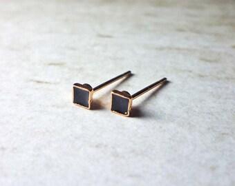 Tiny Black Enamel Square Stud Earrings, Dainty Earrings