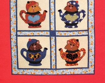 Quilting Pattern - Kitty Blend Four Block Quilt - Cats in Teapots Quilt, Kitties In Teapots Quilt - Mary Lou & Company #204