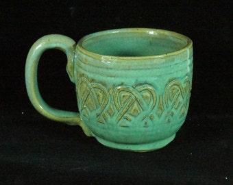 Large Green Celtic Soup Mug Handmade Pottery