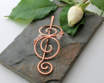 Embellished Swirl Barrette - small - Copper and Rose Quartz - Hair clip