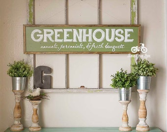 """Hand Painted Sign, Wooden With Trim, 36""""x9"""" GREENHOUSE Sign, White Lettering, Vintage Inspired, Blogger, Gallery Wall"""