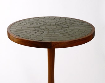 Mid-Century Round Pedestal Table with Tiled Top by Gordon & Jane Martz 1960's