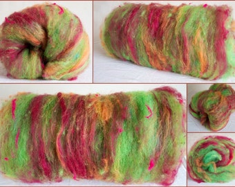 Hand Carded textured  batt, Art batt, Merino, hand dyed Romney, sparkles, hand dyed cotton Spinning fibre, felting, colour; Swirl