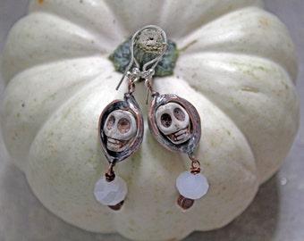 Skeleton earrings, skull earrings, halloween jewelry, skeleton costume, witch costume