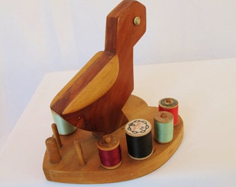 Thread Spool Holder Heart Shape Wood with Emu Bird Handmade Shop Project Vintage Sewing Notions Shop Project