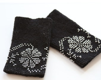 Black traditional lithuanian hand knitted beaded wrist warmers