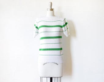 80s striped sweater, vintage green and white striped short sleeve sweater, extra small xs knit top