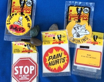 Vintage Novelty Stickers Funny Things 60s 70s Humor MIP Stop Sign, No Smoking, Pain Hurts + More