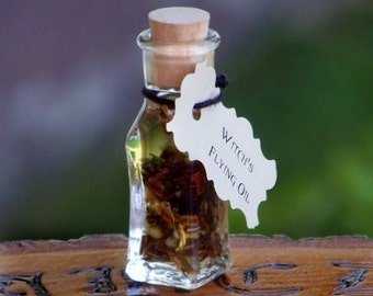 "WITCH'S FLYING OIL Non-Toxic Saturnian ""Artisan Alchemist""™ ""Old European Witchcraft""™ Sabbat Oil in Rare Squared Bottom Mini Glass Vial"