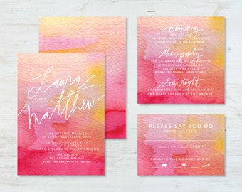 Watercolor Wedding Invitation Suite (deposit)