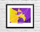 Harrisonburg Map Print.  Choose your Colors and Size.  Perfect for the James Madison University Grad.  Virginia City Wall Art. JMU.