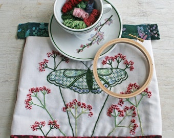 Crewel Embroidery Kit  DIY Pattern pdf  pdf instant download Tea Cozy flower embroidery kit Pattern and yarrow