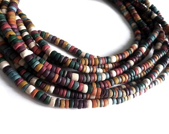 150 coconut beads mixed earth colors 4-5mm  (PC221B)