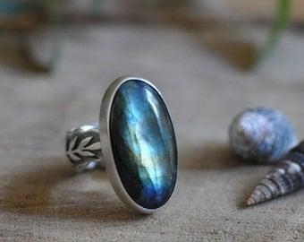 Sterling Labradorite Ring, Oxidised Sterling Silver Statement Ring, Gemstone Metalwork Cocktail Ring - Growth Ring in Labradorite
